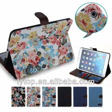 Jeans flower wallet flip stand leather tablet case for ipad mini 2
