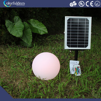 Outdoor plastic solar led ball lamp with bottom holder inside lawn garden globe light