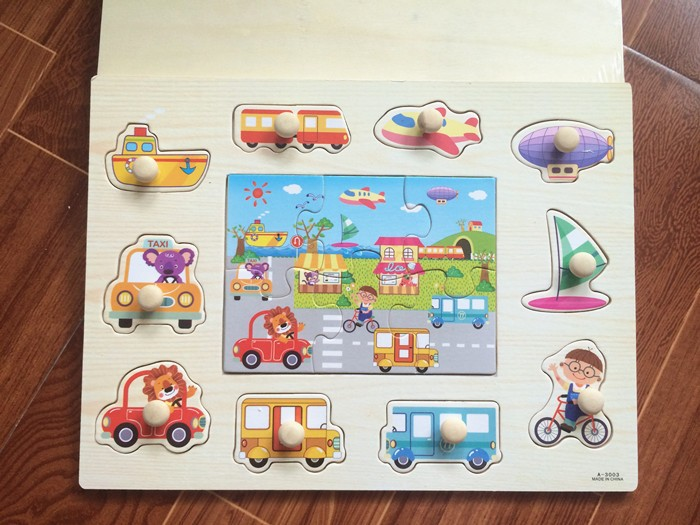 Baby Toys Montessori 2 In 1 Puzzle Hand Grab Board Set Educational Wooden  Toy Cartoon Vehicle  Marine Animal Puzzle Child Gift - us248 411a8bb9add49