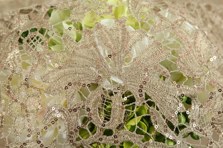 HLP218 High Quality Embroidery Textile Mesh Gold And Beads Sequin Lace Fabric