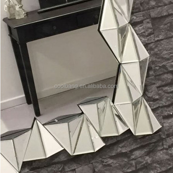 Elegant With Triangle Edge Beveled Wall Mirror For