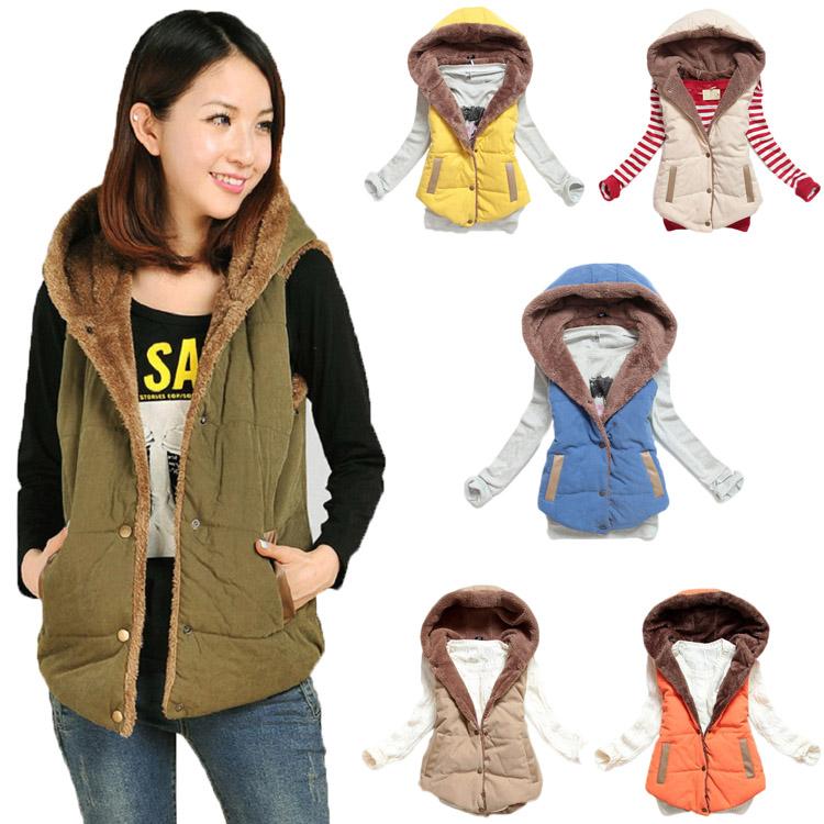 Новый осень зима стиль женская мода куртка с капюшоном толстые теплые вниз жилет все к-назначения стиль куртка WF-8356