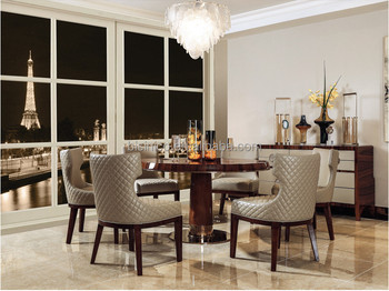 Contemporary Style Brown Color Wooden Round Dining Table With Chairs Customized Home Room