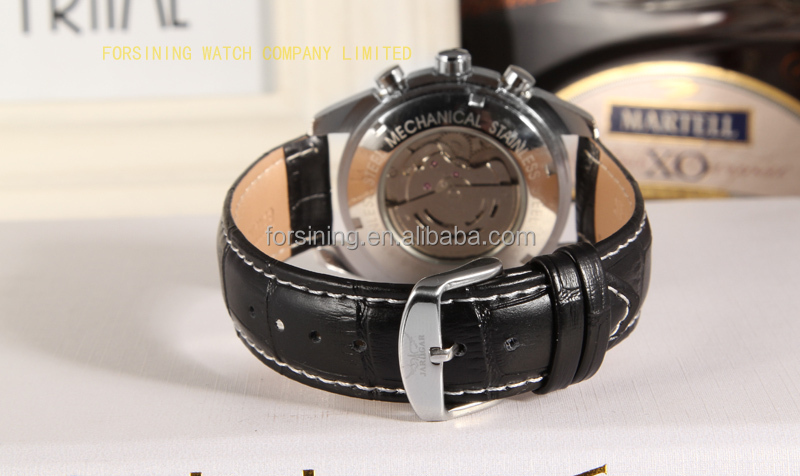 2017 Jaragar new products black dial index own brand automatical watch genuine leather mechanical watch wholesale