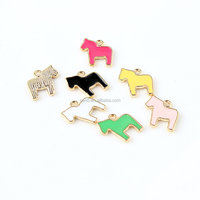 Cute gold plated epoxy horse pendant wholesale