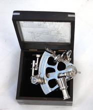 Nautical silver Polish Brass German Sextant with Glass Box