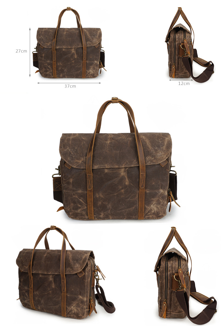 High quality retro men's waterproof waxed canvas leather briefcase laptop should messenger bag for business