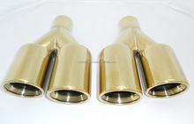 Universal Stainless Steel Muffler for Vehicles Exhaust Pipe double head luxury gold color