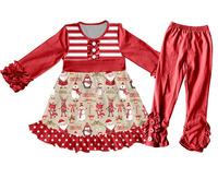 Custom New Arrive Kids Stylish New Year Red Festival Outfits Ruffle Long Sleeve and Pants Winter Warm Clothes Set