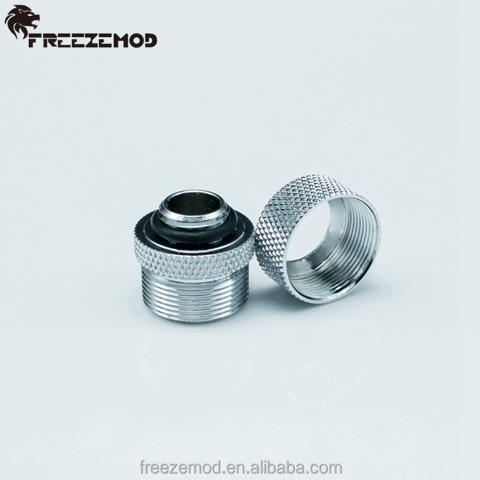 OD14mm rigid tube fitting hard tube fitting high body design G1/4 threads for water cooling system. YGKN-G14MM-S, Silver