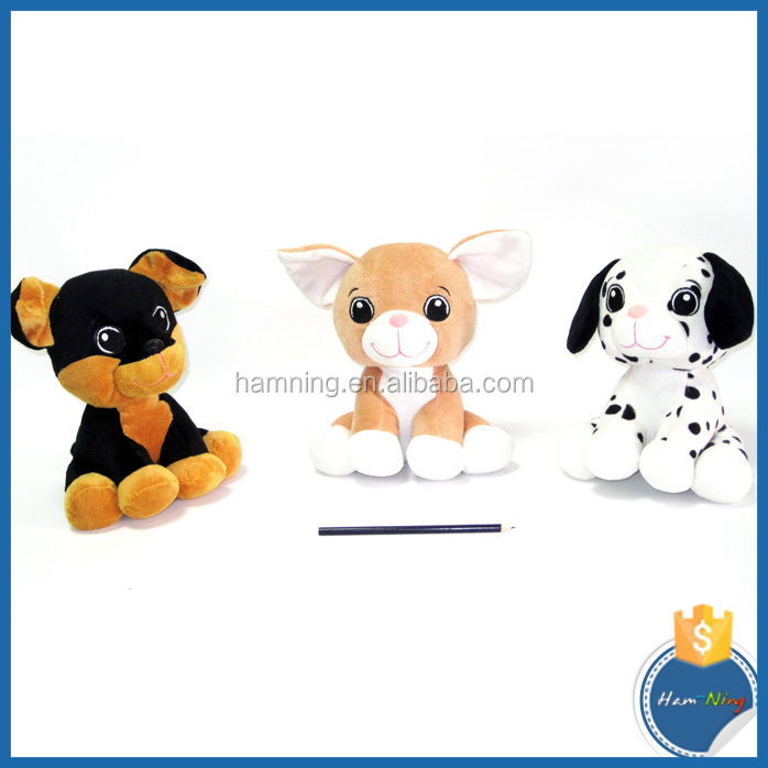 cute sitting battery operated spotty dog plush toy from china factory