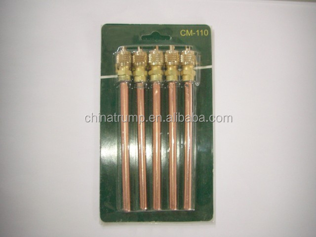 Refrigerant charging valve with brass pin, soldering charging pin valve access