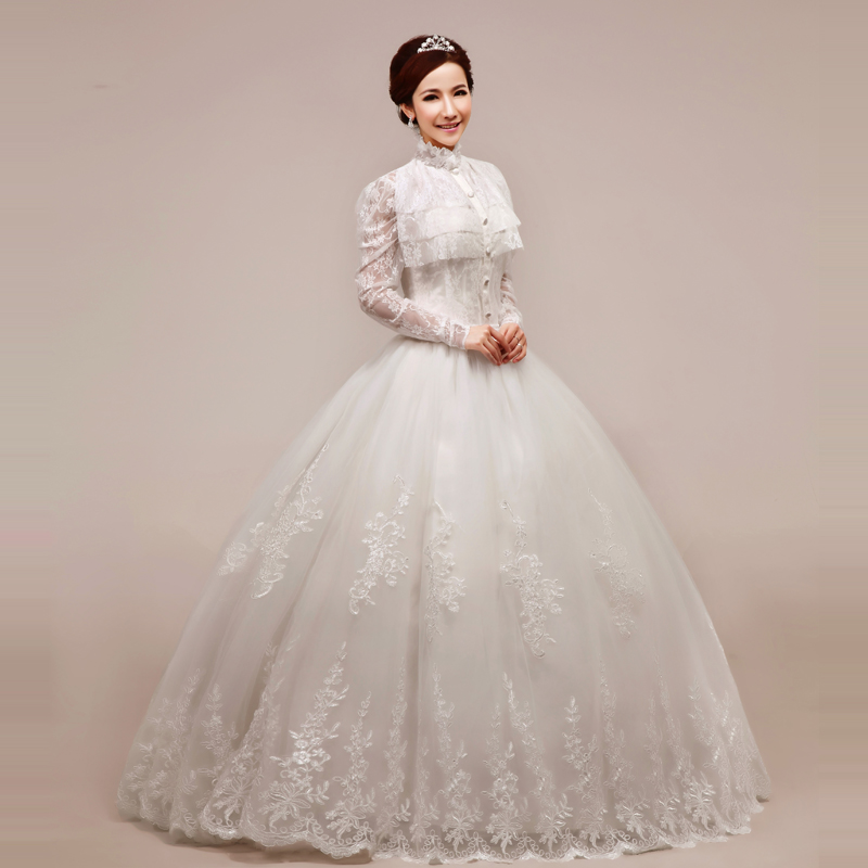 Turtleneck Wedding Gown: 2013-princess-dress-elegant-turtleneck-lace-puff-skirt-wedding-dress-vintage-lace-outerwear.jpg