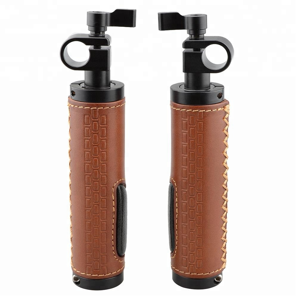 CAMVATE 15mm Rod Clamp Handle Grip (Leather) for DSLR Camera Rod System (pack of 2, Black & brown