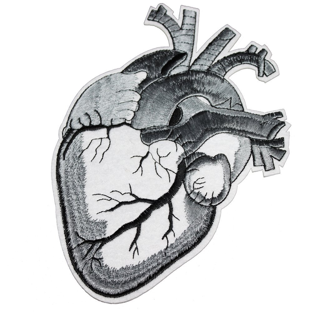 U-Sky Iron on Patches Human Heart Motif, Silver Gray Myocardium, Black Vessel, Cool for Biker Jackets, Punk Jackets, Jeans, Clothing, 7.3 Inch, 3.6 Inch, 2 Different Size Pack