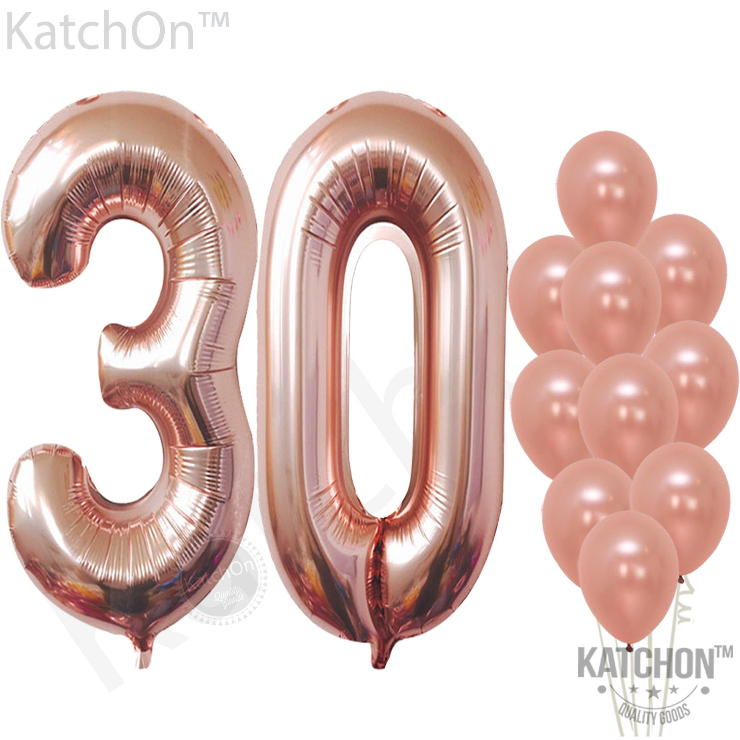 30 Rose Gold Number Balloons – Large,3 and 0 Mylar Rose Gold Balloon | Pack of 10 Latex Rose Gold Balloons,12 Inch | Great for 30th Birthday Decorations Party Supplies, 30 Year Anniversary Celebration