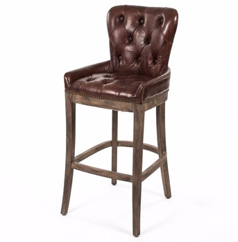 Rustic Lodge Antique Leather Tavern Bar Stool With Oak Wood Legs