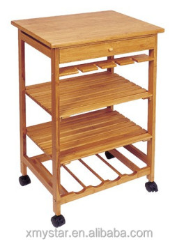 Eco friendly Bamboo kitchen trolley with rack bamboo trolley rack