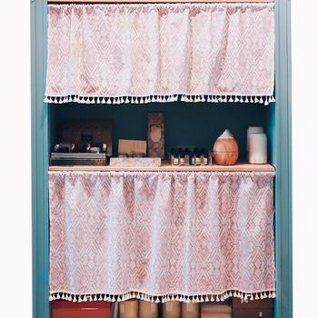 Pink Nice Looking Kitchen Cabinet Designs Decorative Half Door Curtain