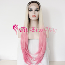 "24"" Long Straight Wavy Colored Three Tone Ombre Light Brown Roots 613 Blonde Pastel Pink Synthetic Lace Front Wig Heat Friendly"