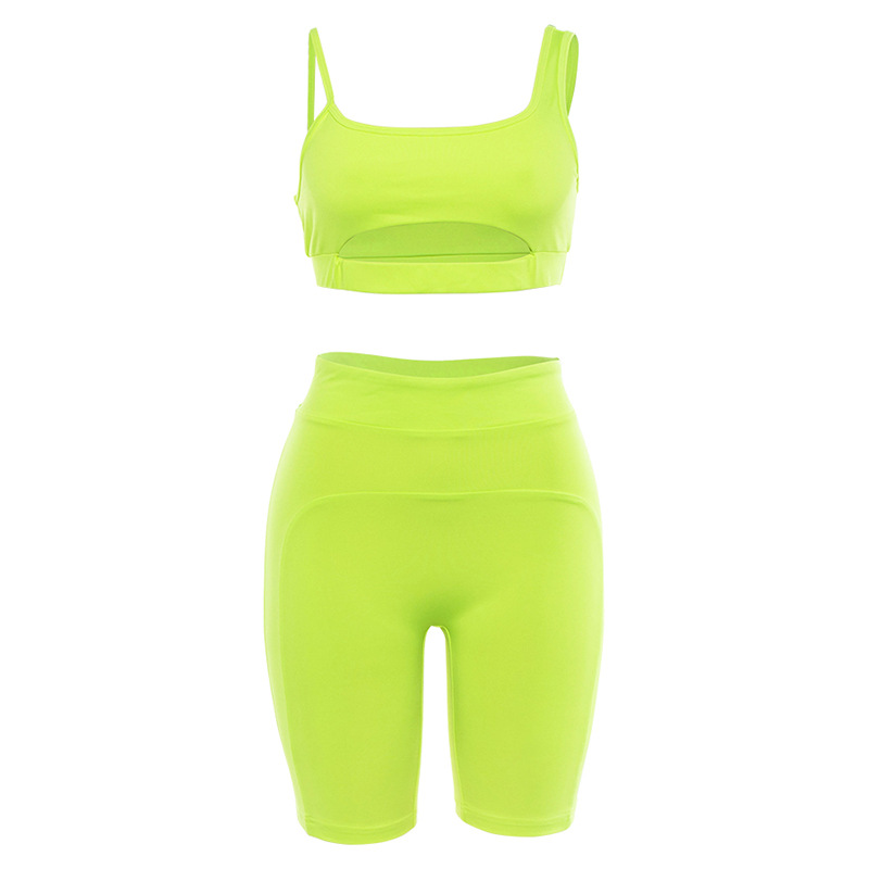 Sexy Fluorescent Color Yogaings GYMs Sportswear 2 PCs Set Women Cut Out Tanks Tops Vest & High Waist Booty Shorts фото