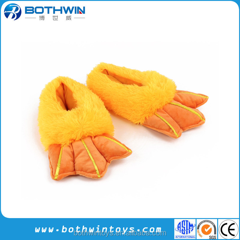 Unisex Fun animal size S M L yellow duck feet plush slippers