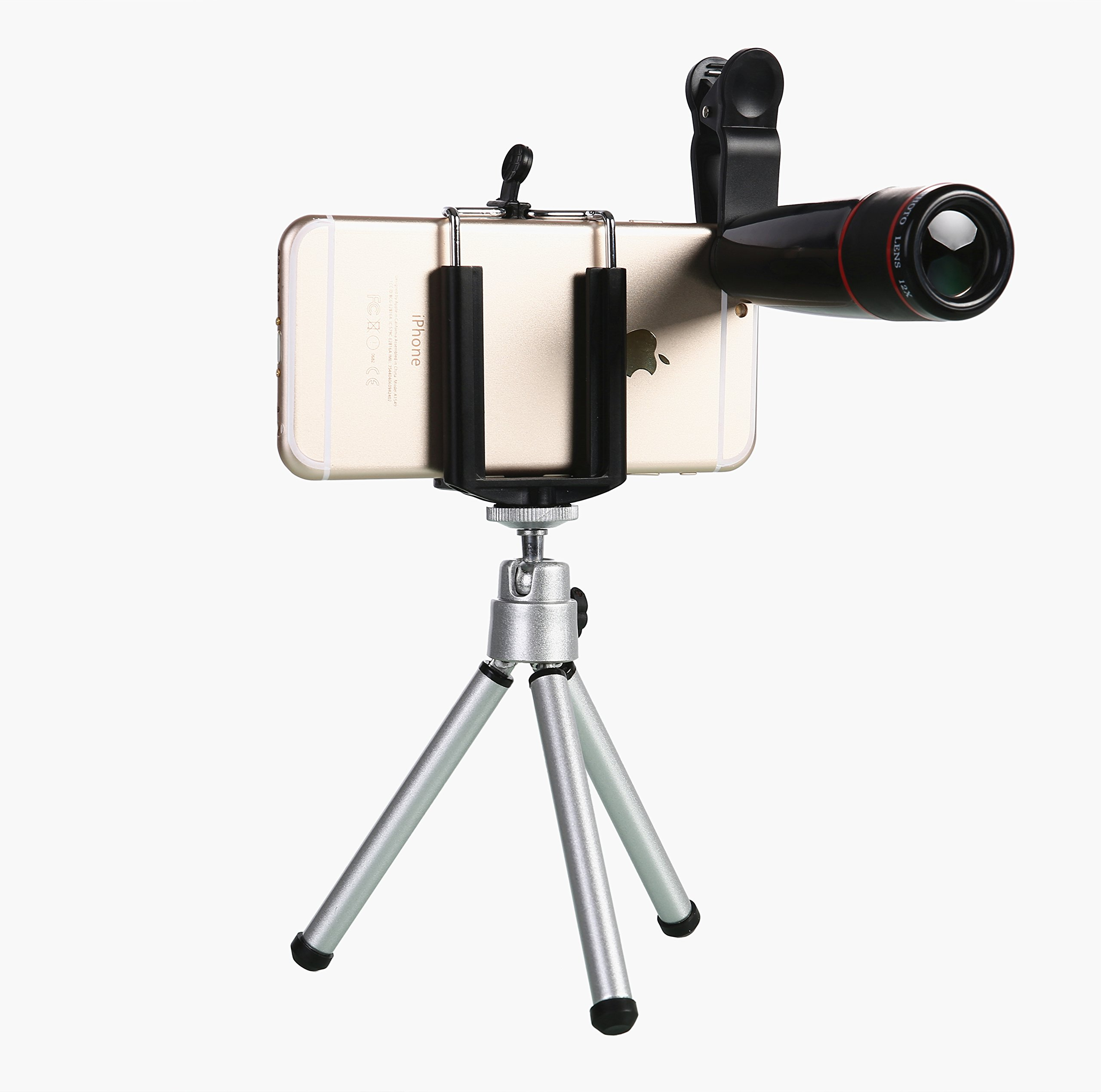 WONBSDOM Universal 12X Zoom Clip-On Aluminum Telephoto Manual Focus Telescope Camera Lens Phone Lens (Black) with Tripod + Retractable Phone Holder + Microfiber Cleaning Cloth for iPhone 4S 5 5S 5C 6 iTouch iPad Samsung Galaxy S3 S4 S5 S6 Note 2/3/4 HTC Nokia Sony,etc.