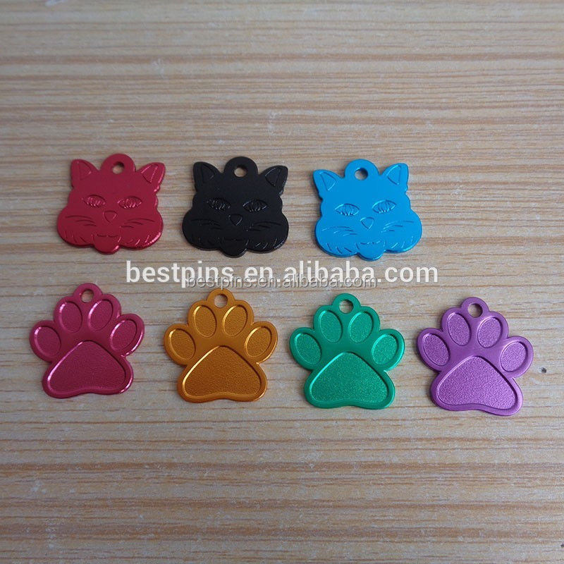 Fashion Cheap Paw Shaped Pet Dog Tag Metal Plating Dog Tag for Dog Necklace