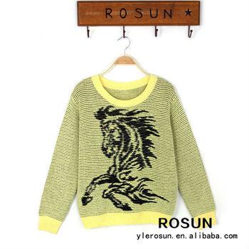 желтый свитер лошадь вязание узор пуловер свитер для женщин Buy
