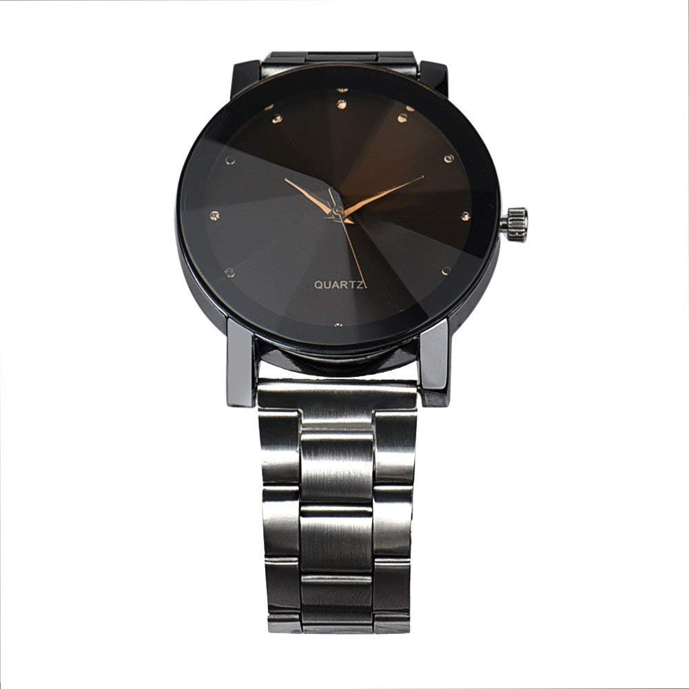 yijiamaoyiyouxia-Watches, Fashion Man Women Crystal Stainless Steel Analog Quartz Wrist Watch