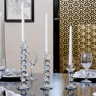 Wholesale tall crystal candlestick glass taper candle holder set of 3