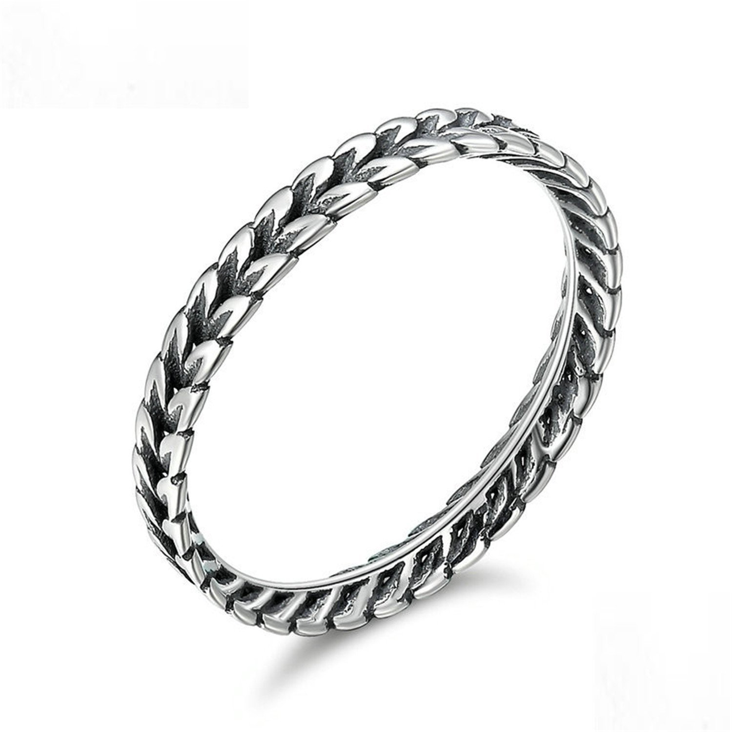 Baqijian Authentic Sterling Stackable Ring Wheat Shape Finger Ring Women Vintage Sterling Jewelry Scr139