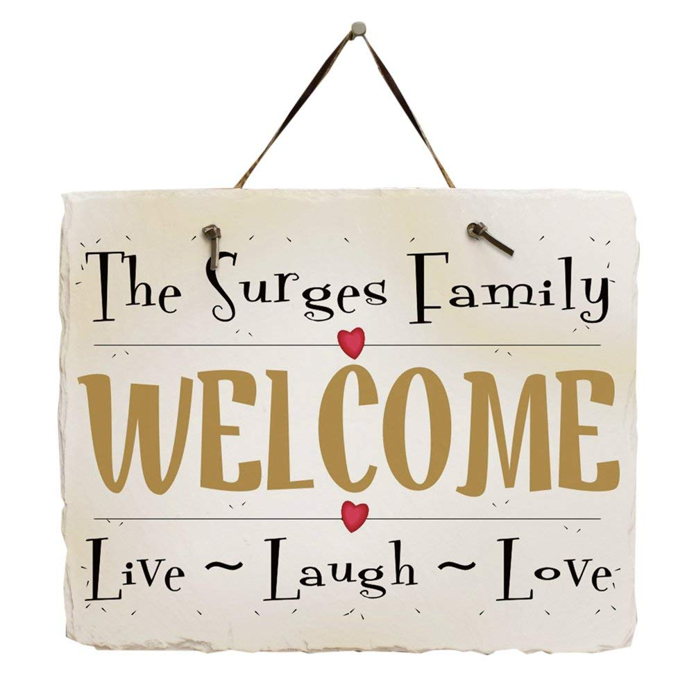 """GiftsForYouNow Live ~ Laugh ~ Love Personalized Slate Plaque, 11.5"""" x 9"""", Leather Strap Included"""