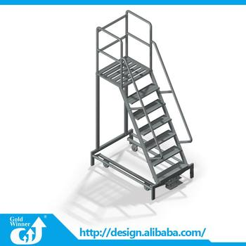 Customized Safety Steel Mobile Platform Warehouse Ladder With Wheels