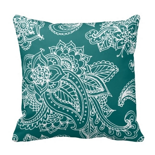 Home Cushions Dark Teal Illustrated Bohemian Paisley Henna Throw Pillow Case (Size: 20