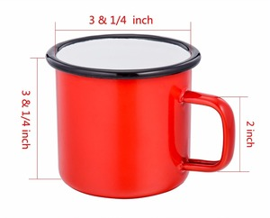 Wholesale Outside red color enamel Mug,Custom Logo Printing Steel Enamel Camping Mug