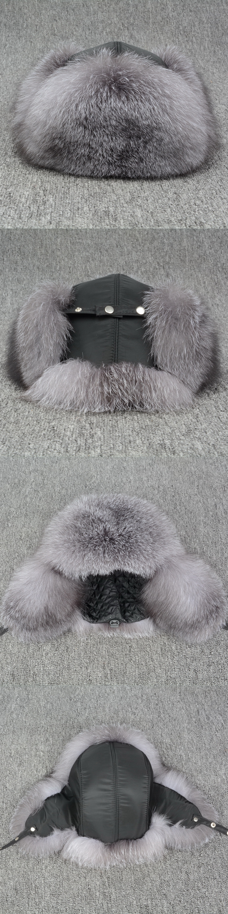 JKK FUR 2018 Real Silver Fox Bomber Fur Hats Thick Winter Warm Snow Caps With Earflap For Men & Women S3071