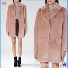 100% Polyester faux fur made the nice long and korean style winter women ladies pink faux fur coat