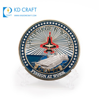 Free sample custom raised metal bronze 3D soft enamel gold plated america military army fighter coin