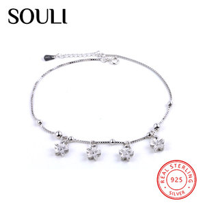 Sandbeach Flower Design Plain 925 Sterling Silver Jewellery Anklets