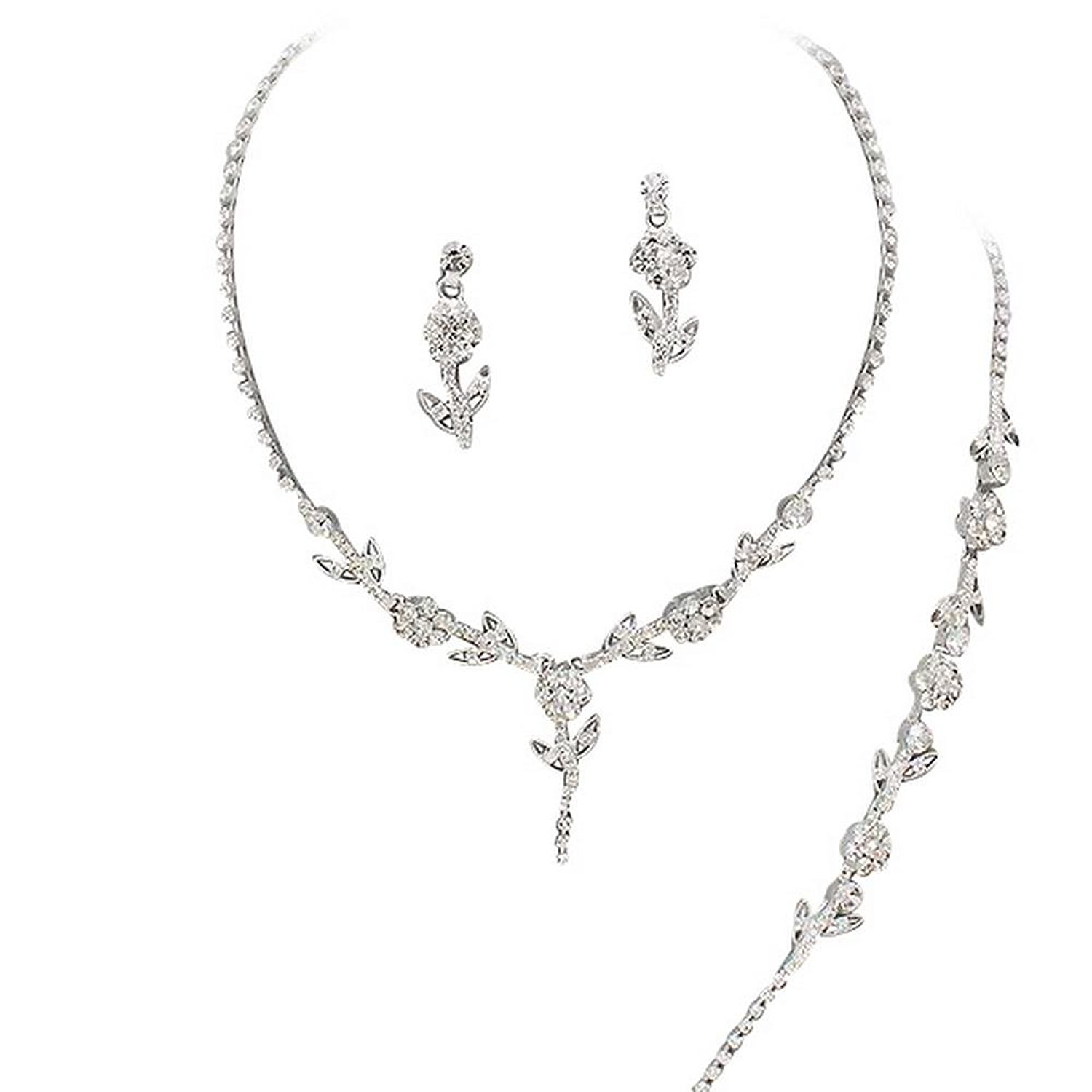 Affordable Crystal 3 Piece BRIDESMAID Bridal Necklace, Earring, Bracelet, Set O1