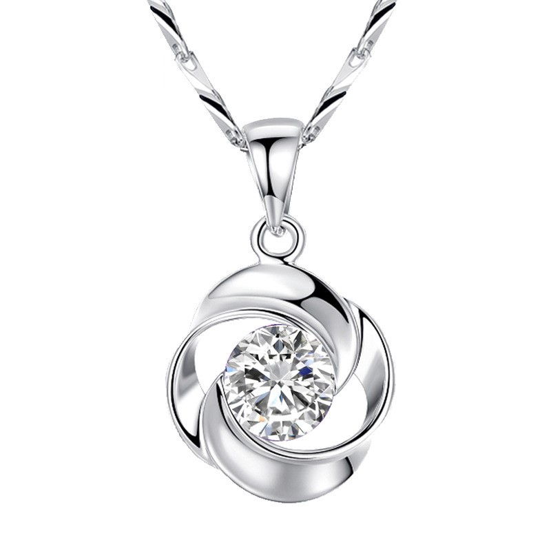 <strong>Fashion</strong> rose shape 925 Sterling Silver Cubic Zirconia stone Solitaire women Pendant Necklace jewellery