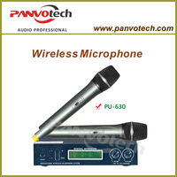 Professional dual channel uhf wireless microphone system with adjustable frequency