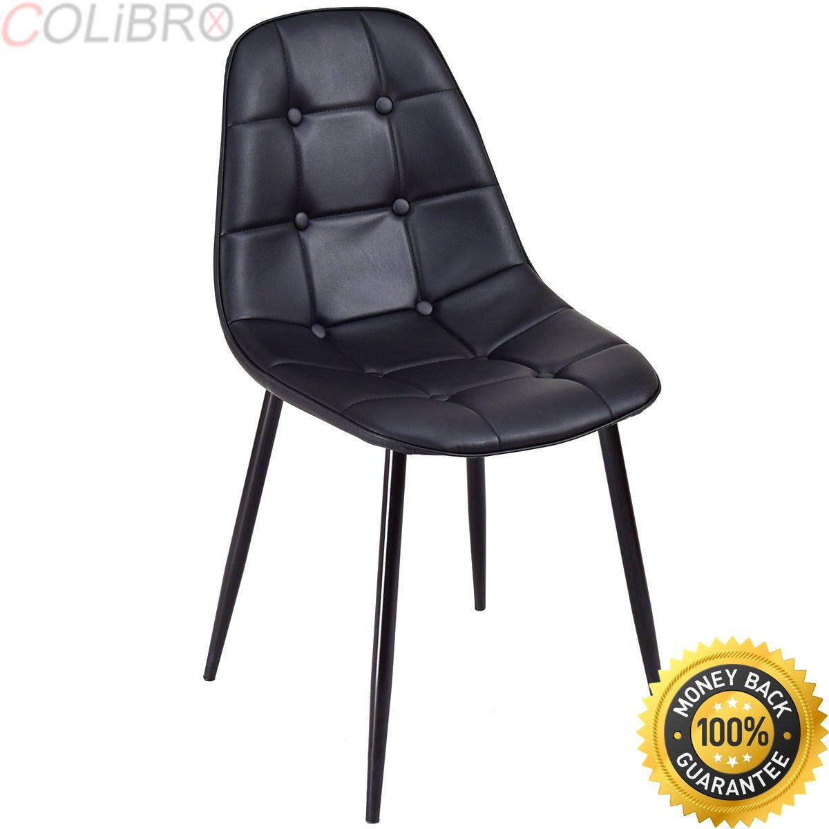 eac91e7067e1 Get Quotations · COLIBROX--Set of 4 Dining Chair PU Leather Armless Metel  Leg Tufted Accent Chair