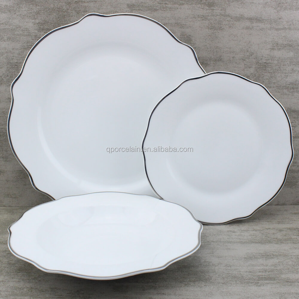 White China Plates With Silver Trim Wave Plate Set Custom Size Buy