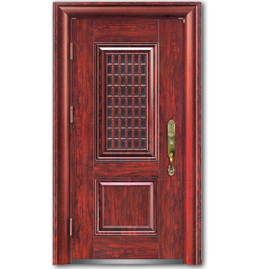 Five panel safety new modern american design style steel door with security system and knock down steel frame