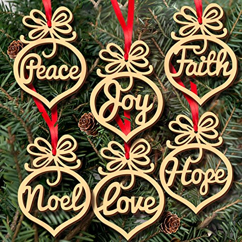 Mandydov Pack of 6pcs Laser Cut Wood Crafts Wooden Christmas Tree Pendant Ornament Party Decoration