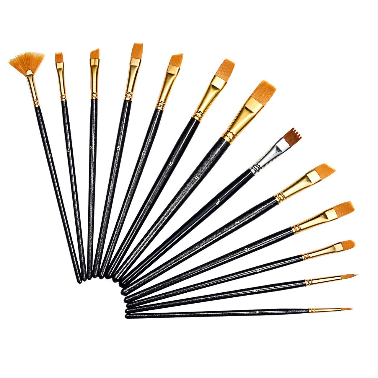13 Pieces Paint Brushes, Atmoko Artist Paint Brushes Set for Watercolor, Acrylic & Oil Paintings, Perfect for Painting Canvas, Ceramic, Clay, Wood & Models, Great Gift for Kids, Artists and Amateurs