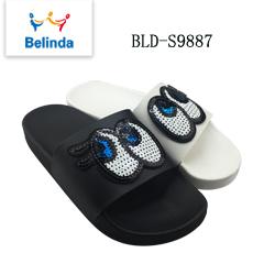 Ladies Bling Sequin Upper Slippers Women Sandals Custom Slides