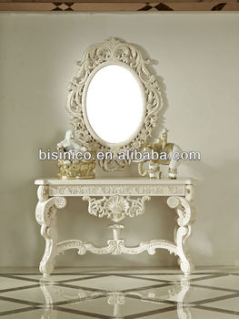 Luxury Antique Console Table With Mirror In White Wooden